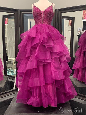 Beaded Fuchsia Pink Quinceanera Dress V Neck Ball Gown Prom Dresses ARD2243-SheerGirl