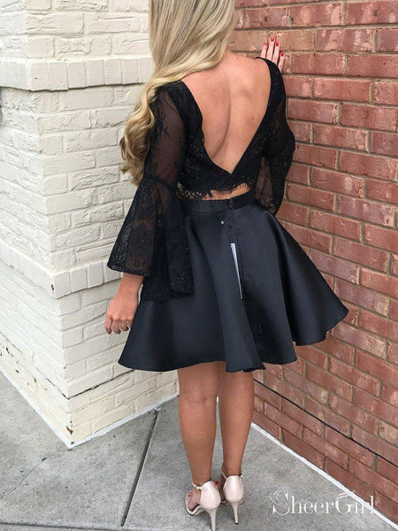 Black Lace 2 Piece Homecoming Dresses with Sleeves,Little Black Dresses APD2804-SheerGirl
