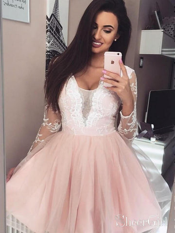 Blush Pink Short Prom Dresses Lace Sheer Long Sleeve Homecoming Dress ARD1999-SheerGirl