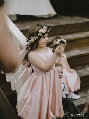 Blush Pink Simple Flower Girl Dresses for Rustic Country Wedding ARD2103-SheerGirl