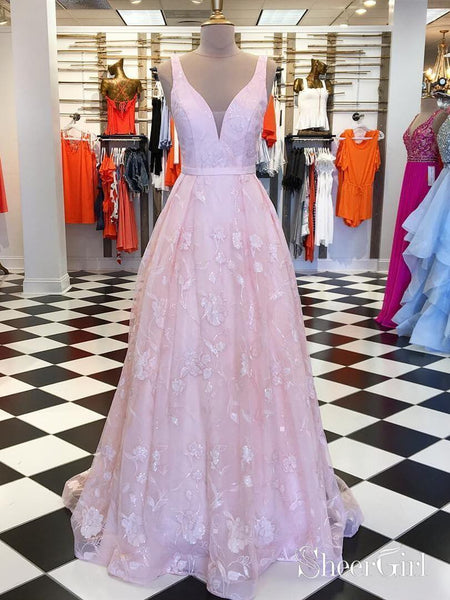 Broad Strap Long Lace Pink Prom Dresses 2019 Cheap Formal Dress ARD1884-SheerGirl