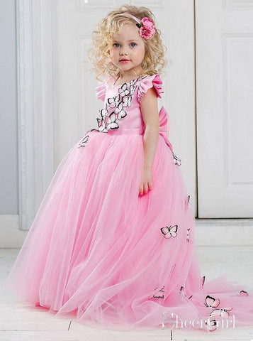 Butterfly Applique Pink Ball Gown Flower Girl Dresses with Train ARD1764-SheerGirl
