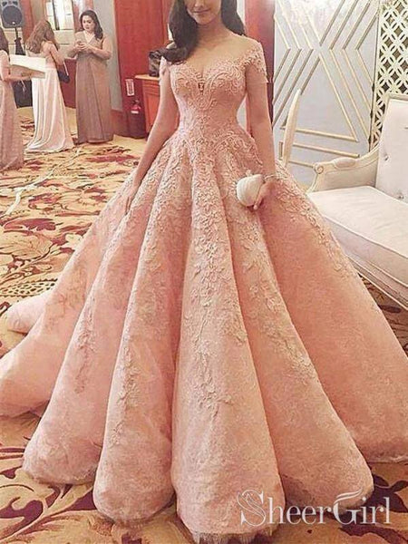 Cap Sleeve Pink Lace Ball Gown Prom Dresses Pincess Quinceanera Dress ARD1973-SheerGirl