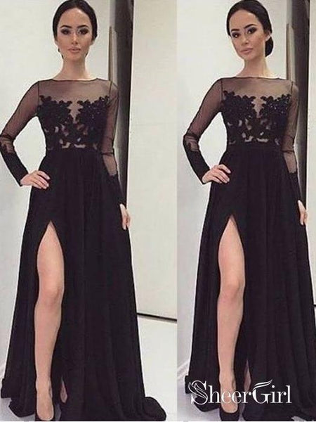Cheap Black Prom Dresses See Through Long Sleeve Prom Dresses APD1674-SheerGirl