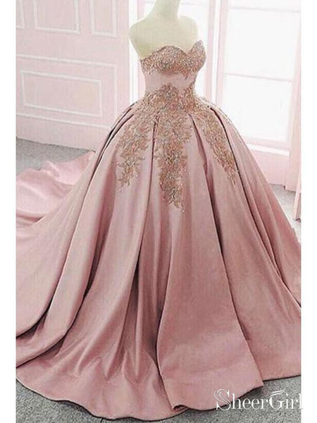 Cheap Dusty Rose Quinceanera Dress Princess Sweet 16 Ball Gown Prom Dresses ARD1932-SheerGirl