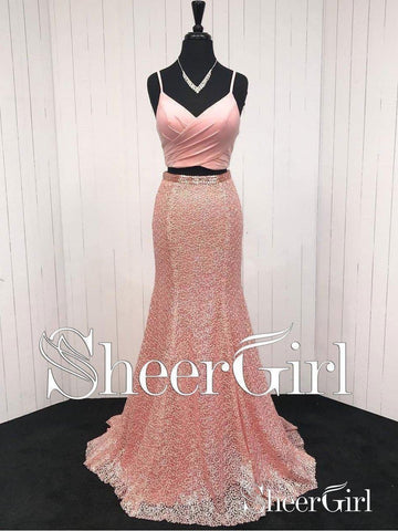 Cheap Prom Dresses Coral A Line Two Pieces Long Lace Mermaid Formal Dress 2018 APD3282-SheerGirl