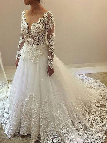 Cheap See Through Lace Beaded Wedding Dresses with Long Sleeves SWD0065-SheerGirl