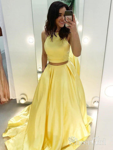 Cheap Two Piece Yellow Satin Formal Halter Long Simple Prom Dresses APD3238-SheerGirl