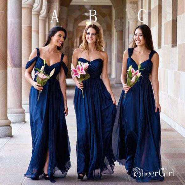 Dark Royal Blue Chiffon Mismatched Bridesmaid Dresses,Cheap Wedding Party Dresses,apd1751-SheerGirl