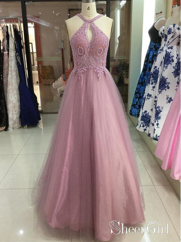 Dusty Rose Halter Lace Applique Tulle Prom Dresses Backless Long Prom Dress ARD1428-SheerGirl