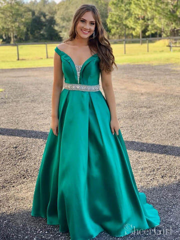 Emerald Green Satin Long Prom Dresses Off the Shoulder Beaded Prom Dress ARD2121-SheerGirl
