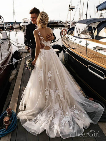 Floral Applique Beach Wedding Dresses Backless Boho Wedding Gown AWD1568-SheerGirl