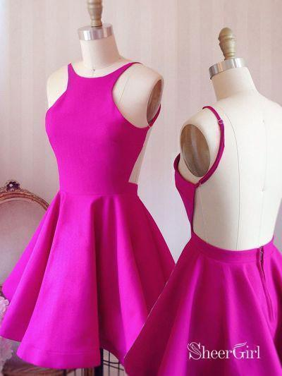 Fuchsia Jersey Short Bridesmaid Dresses,Backless Homecoming Dresses,apd2507