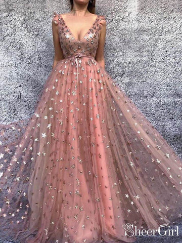 Gold Star Printed Lace Prom Dresses V Neck Long Princess Ball Gown ARD1935-SheerGirl