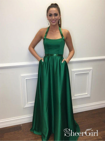 Green Simple Satin Prom Dress with Pocket A Line Graduation Dresses for Juniors APD3436-SheerGirl
