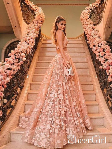 Halter Backless Pink Lace Prom Dresses Two Piece Floral Formal Dress ARD2019-SheerGirl