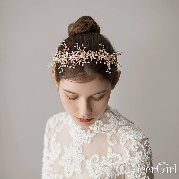 Hand-wired Gold Scattered Pearls Headband ACC1098-SheerGirl