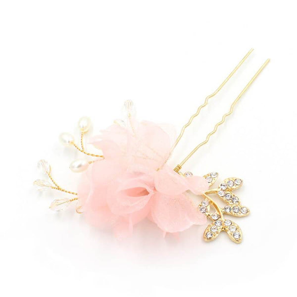 Ivory 3D Flower Gold Hairpin Pink Hairpins ACC1111-SheerGirl
