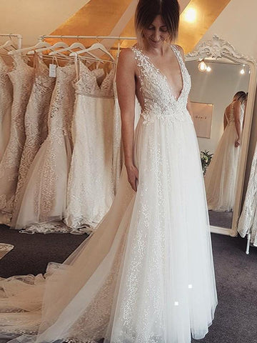 Ivory Beaded Lace Beach Wedding Dresses Backless A Line V Neck Bridal Dress AWD1301-SheerGirl