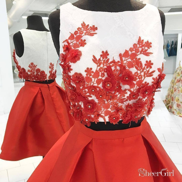 Ivory Top Red Taffeta Skirt Mini Short Two Piece Homecoming Dresses,apd2606-SheerGirl