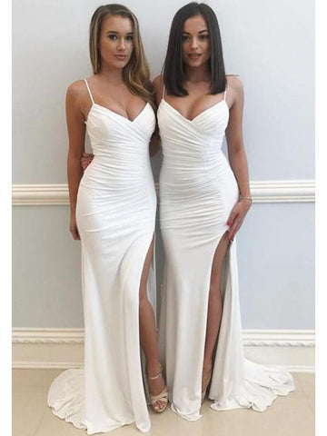 Ivory White Mermaid Bridesmaid Dresses Sexy Bridesmaid Dress with Slit ARD1395-SheerGirl