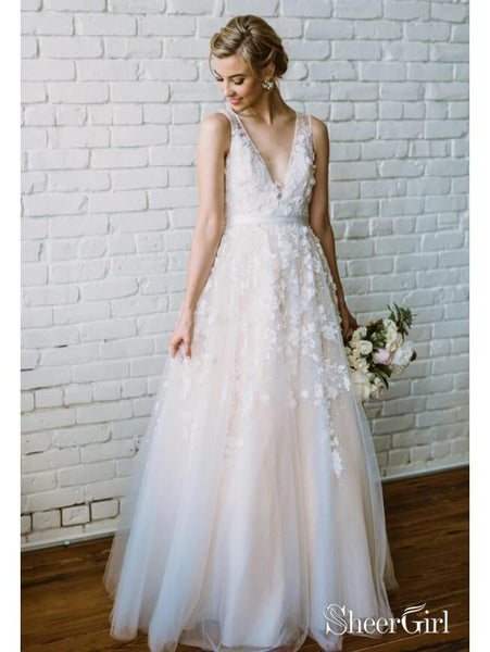 Lace Applique Ivory & Champagne Wedding Dresses V Neck Beach Wedding Dress AWD1277-SheerGirl