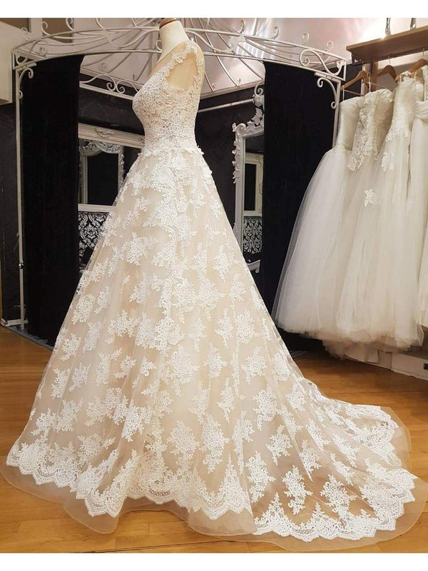 Lace Ball Gown Wedding Dresses Vintage Cheap Bridal Dresses AWD1158-SheerGirl