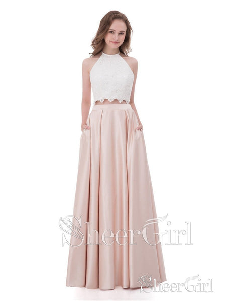 Lace Bodice Pearl Pink Satin Two Piece Long Prom Dresses APD3052-SheerGirl