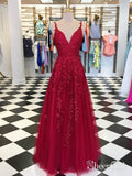 Lace Prom Dresses Long V Neck Rose Red Formal Maxi Dress ARD1882-SheerGirl