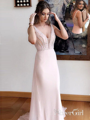 Light Pink Wedding Guest Dresses V Neck Beaded Prom Dresses Evening Gowns APD3477-SheerGirl