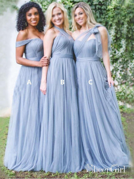 Long A Line Dusty Blue Cheap Mismatched Bridesmaid Dresses Online Plus Size PB10129-SheerGirl