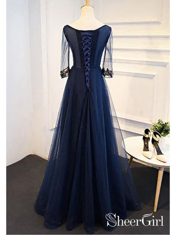 products/long-a-line-navy-blue-formal-evening-ball-gowns-appliqued-half-sleeve-prom-dresses-ard1046-2.jpg