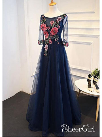 products/long-a-line-navy-blue-formal-evening-ball-gowns-appliqued-half-sleeve-prom-dresses-ard1046.jpg