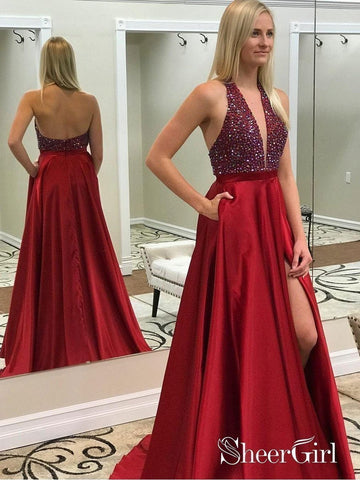Long Red Beaded Prom Dresses Deep V-neck Backless Formal Dress with Pocket APD3377-SheerGirl