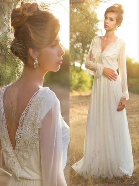 Long Sleeve Country Wedding Dresses Lace Chiffon Beach Wedding Dresses AWD1057-SheerGirl