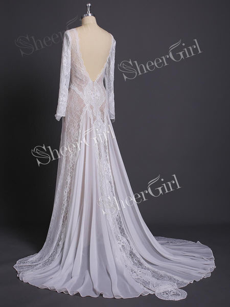 Long Sleeve Ivory Lace Wedding Dresses See Through Backless Boho Wedding Dresses AWD1115-SheerGirl