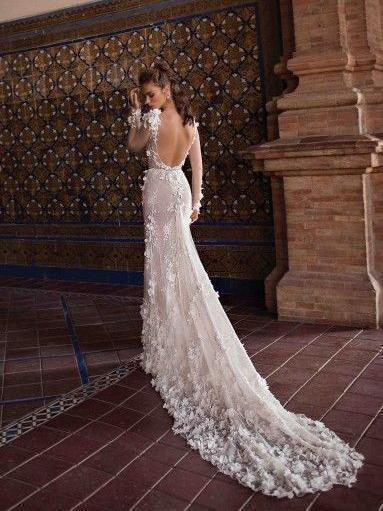 Long Sleeve Mermaid Lace Wedding Dresses Sexy Sheer Beach Wedding Dresses AWD1146-SheerGirl