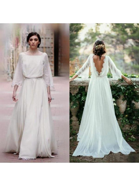 Long Sleeve Plus Size Wedding Dresses Backless Ivory Beach Wedding Dresses AWD1111-SheerGirl