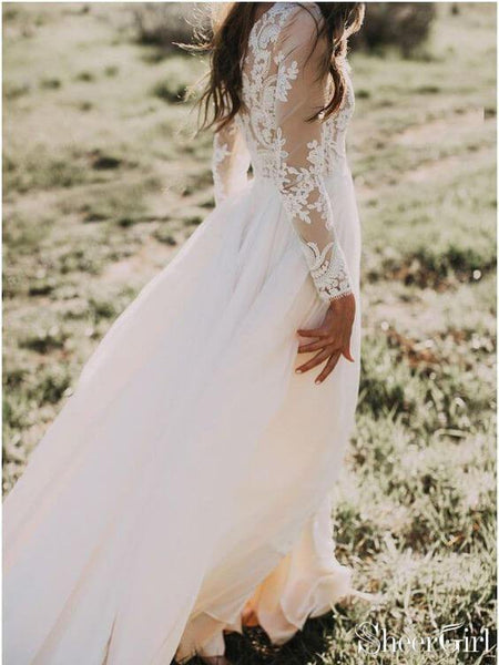 Long Sleeve Rustic Weding Dresses Lace Appliqued Ivory Beach Wedding Dress AWD1159-SheerGirl