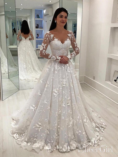 Long Sleeve Vintage Lace Wedding Dresses Modest V Neck Wedding Gown AWD1452-SheerGirl