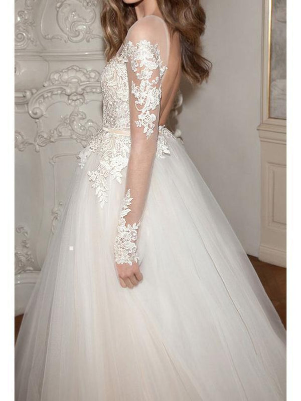 Long Sleeves See Through Lace Ball Gown Wedding Dresses Backless Bridal Dress AWD1150-SheerGirl
