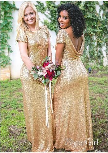Mismatched Rose Gold Sequin Long Wedding Bridesmaid Dresses APD2806-SheerGirl