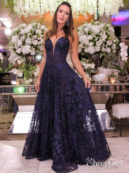 Navy Blue Lace Long Prom Dresses Spaghetti Strap V Neck Formal Dress ARD1875-SheerGirl