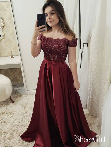 Off the Shoulder Burgundy Long Prom Dresses Lace Bodice Maroon Prom Dress ARD1895-SheerGirl