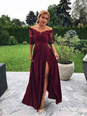 Off the Shoulder Burgundy Modest Bridesmaid Dresses with Slit ARD2078-SheerGirl