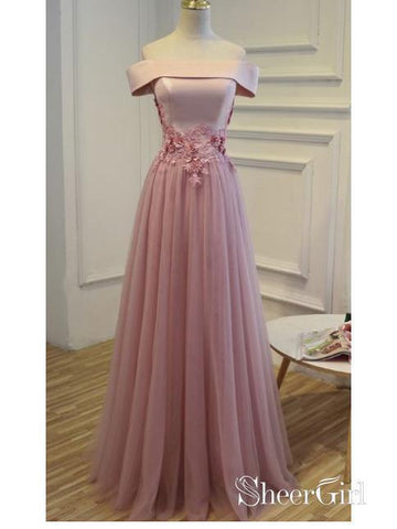 Off the Shoulder Dusty Rose Prom Dresses Lace Applique Evening Ball Gowns ARD1058-SheerGirl