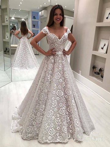 Off the Shoulder Floral Lace Wedding Dresses Cheap Rustic Wedding Dress AWD1430-SheerGirl