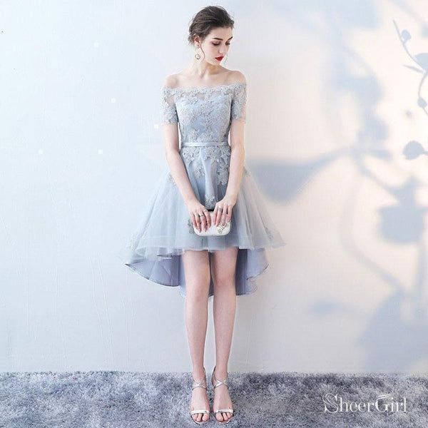 Off the shoulder Grey Lace Appliqued High Low Homecoming Dresses with Short Sleeves,apd2666-SheerGirl