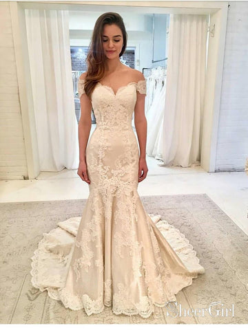 Off the Shoulder Lace Mermaid Wedding Dresses with Train AWD1431-SheerGirl