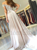 Off the Shoulder Lace Prom Dresses Beaded Chiffon Maxi Formal Evening Ball Gowns APD3350-SheerGirl